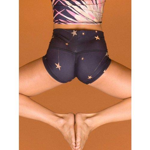 Teeki Yogakleding Great Star Nation Black (Black Thread) - Yoga Sun Shorts (S)