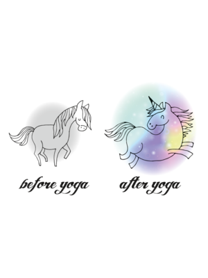YogaHabits Ansichtkaart (set 10 stuks) Before Yoga - After Yoga Unicorn