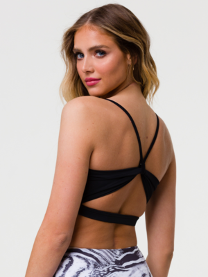 Onzie Yoga Wear Bow Bra - Black (removable cups) (XS/S/M/L)