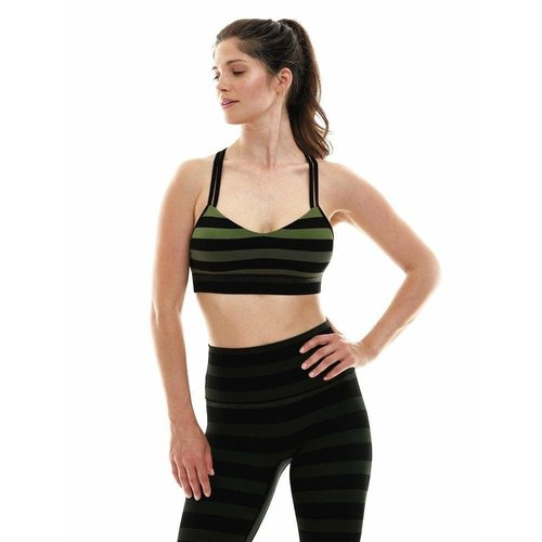 K-DEER Criss Cross Sports Bra - Maranda Stripe (removable cups) (XS/S/M/L)
