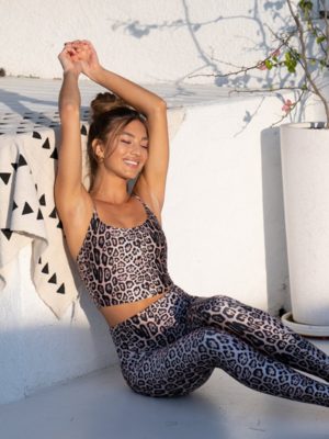 Onzie Yoga Wear Belle Cami Crop Top - Leopard (XS/S/M/L)