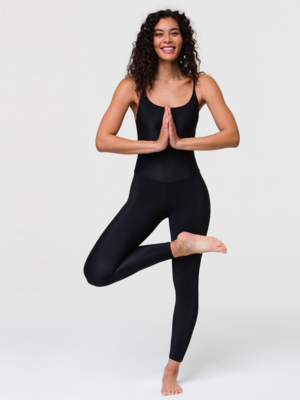 Onzie Yoga Wear Long Rib Leotard - Black Rib (S/M)