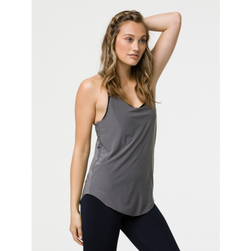 Onzie Yoga Wear Glossy Flow Tank - Metal