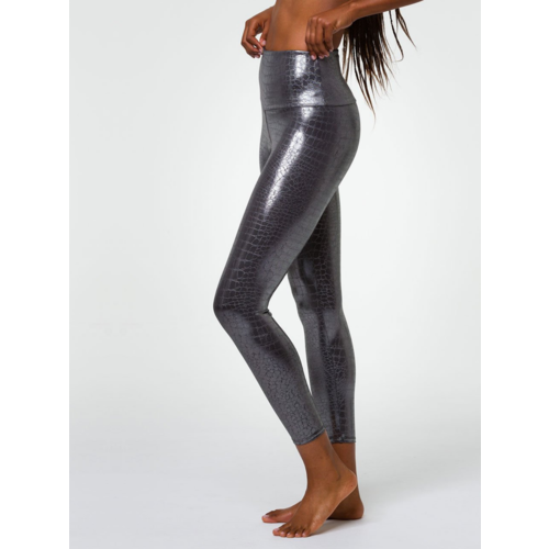 Onzie Yoga Wear High Rise Foil Midi Legging - Mercury (S/M)