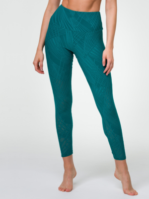 Onzie Yoga Wear High Rise Selenite Midi Legging - Teal (XS/S/M)