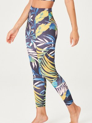 Onzie Yoga Wear High Rise Midi Legging - Palm Paradise (S/M)