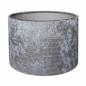 RamLux Lampenkap 40 cm Cilinder CROC Velours Zilver
