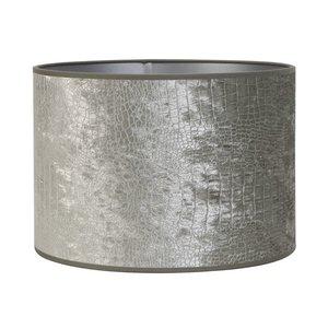 Light & Living Lampenkap 25 cm Cilinder CHELSEA Velours Zilver
