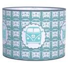 Taftan Lampenkap 35 cm Cilinder Busje Grijs Blauw
