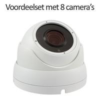 CHD-CS08DA3-W - 9 kanaals NVR inclusief 8 witte CHD-DA3 IP camera's