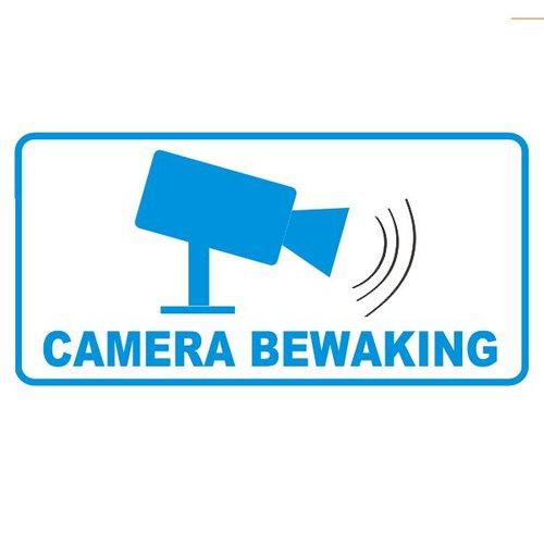 "Sticker ""camerabewaking"" 7.5 x 3.7 cm binnenkant raam/deur - 2 stuks"
