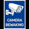 """Sticker """"camerabewaking"""" 15 x 20 cm - Blauw/wit"""