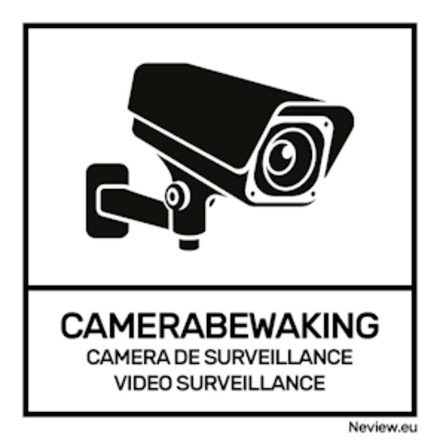 """Sticker """"camerabewaking"""" 10 x 10 cm - Zwart/wit"""