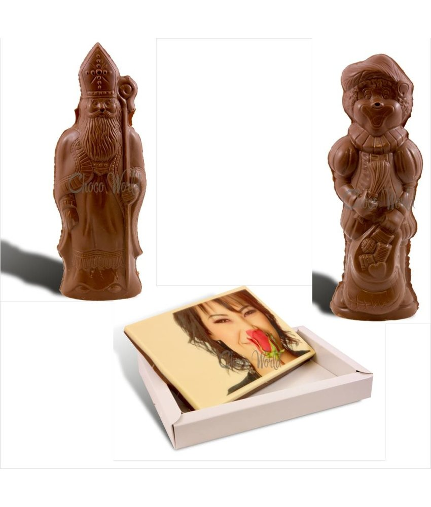 Chocolaterie Vink Sinterklaas, Piet en kaart met foto
