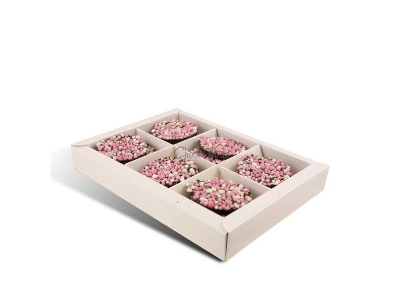 Chocolaterie Vink Geboorte flikken met roze muisjes