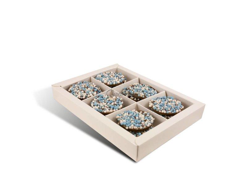 Chocolaterie Vink Geboorte flikken met blauwe muisjes