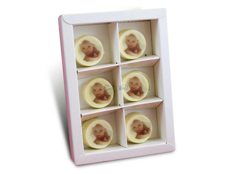 Chocolaterie Vink Geboortemunten Wit met Foto