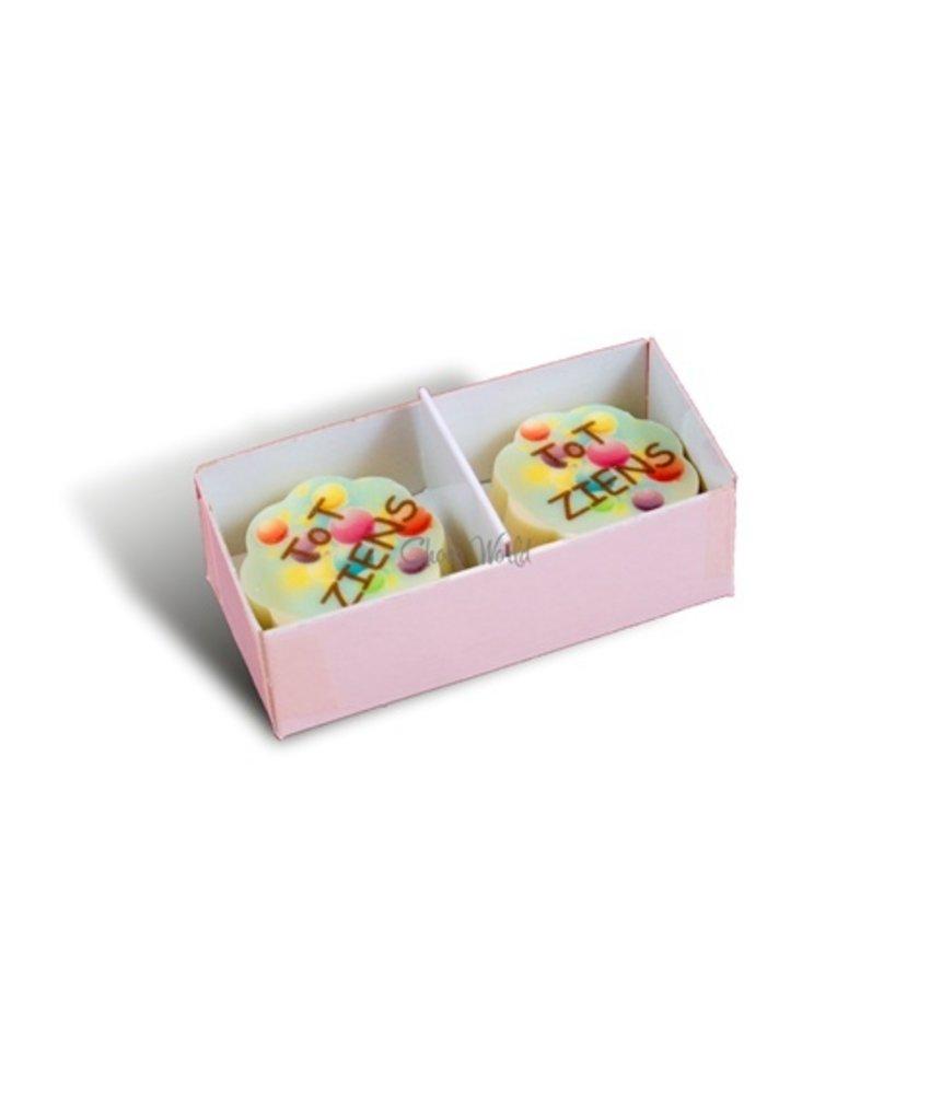 Chocolaterie Vink Bonbons Wit met Foto/Logo 2 stuks