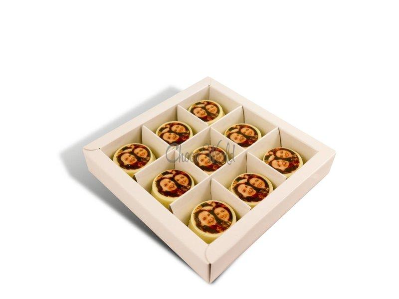 Chocolaterie Vink Munten Wit Rond met Foto/Logo 18 st