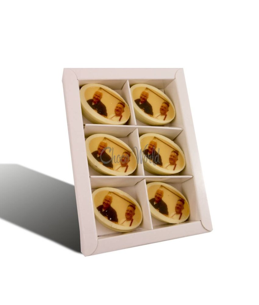 Chocolaterie Vink Munten Wit Ovaal met Foto/Logo 16 st