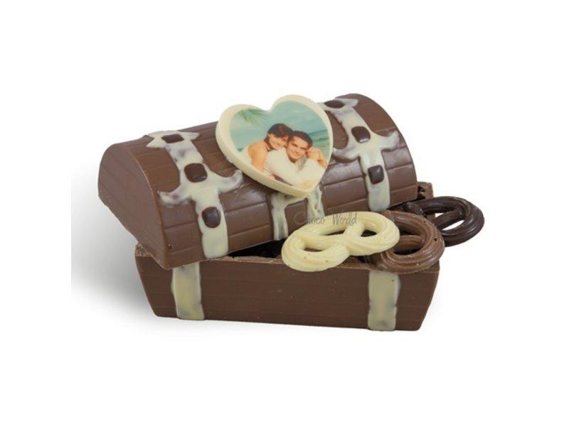 Chocolaterie Vink Schatkist fotohartje met chocolaatjes
