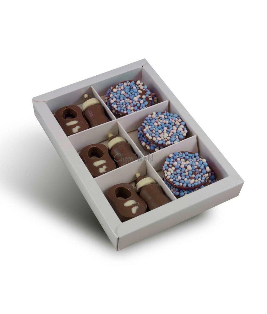 Chocolaterie Vink Tutteflesje/slabbetjes met geboorte flikken blauw