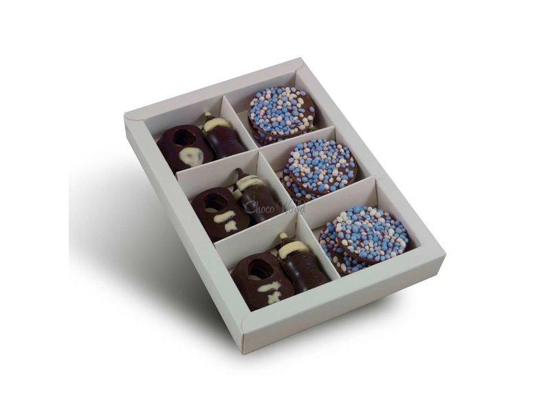 Chocolaterie Vink Tutteflesje/slabbetjes met geboorte flikken