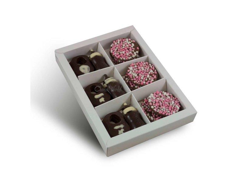 Chocolaterie Vink Tutteflesje/slabbetjes met geboorte flikken roze