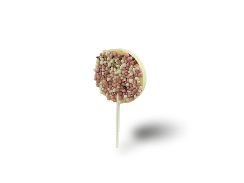 Chocolaterie Vink Geboorte chocolade lolly's met roze muisjes