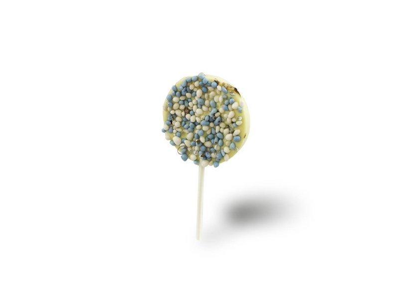 Chocolaterie Vink Geboorte chocolade lolly's met blauwe muisjes
