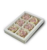 Chocolaterie Vink Geboorte flikken wit met roze muisjes