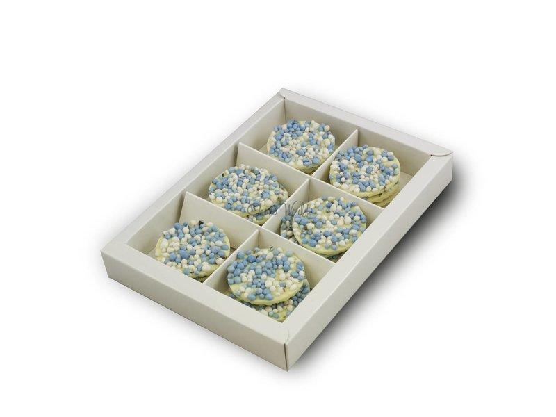 Chocolaterie Vink Geboorte flikken wit met blauwe muisjes
