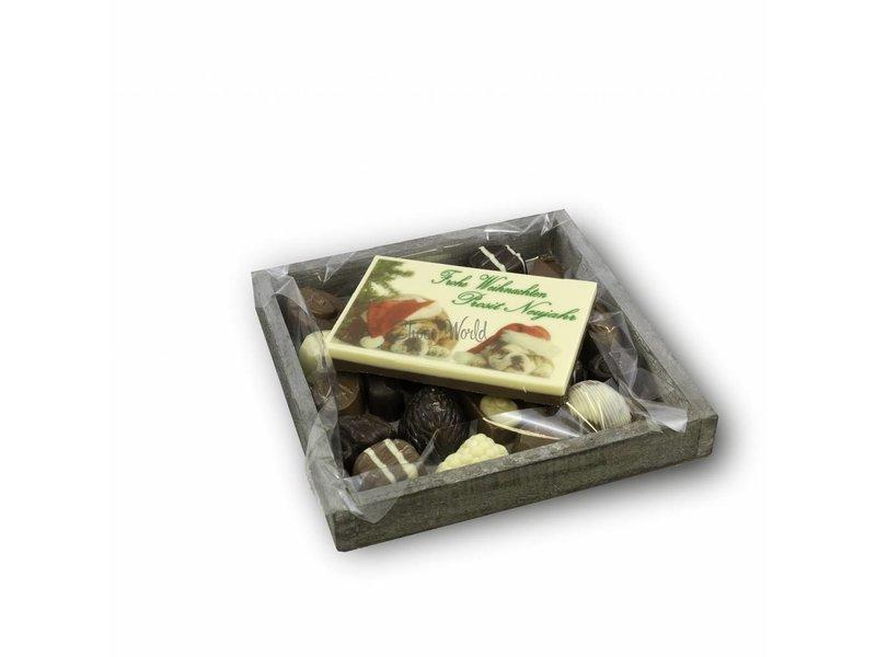 Chocolaterie Vink Slagroom Bonbons Assortiment Klein met Chocolade Kerstkaart