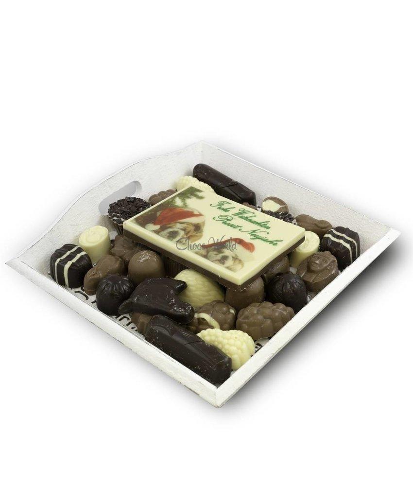 Chocolaterie Vink Slagroom Bonbons Assortiment Middel met Chocolade Kerstkaart