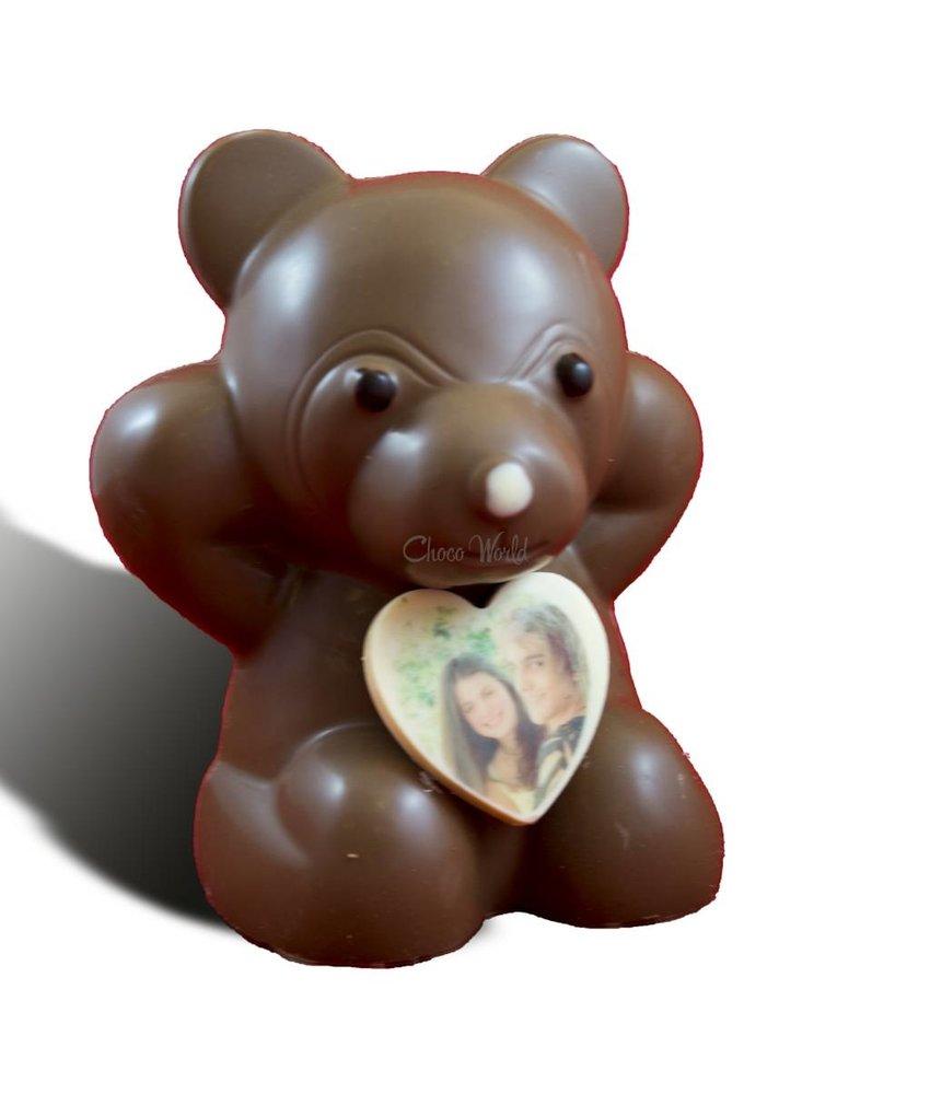 Chocolaterie Vink Chocoladebeer met hartje en foto
