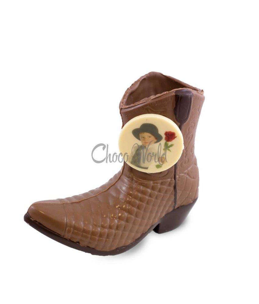 Chocolaterie Vink Cowboylaars met foto/logo