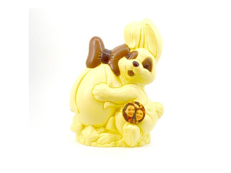 Chocolaterie Vink Paashaas met Ei kingsize met foto/logo