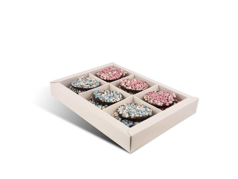 Chocolaterie Vink Geboorte flikken roze én blauwe muisjes