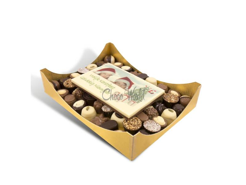 Chocolaterie Vink Slagroom bonbons assortie groot met chocolade kerstkaart