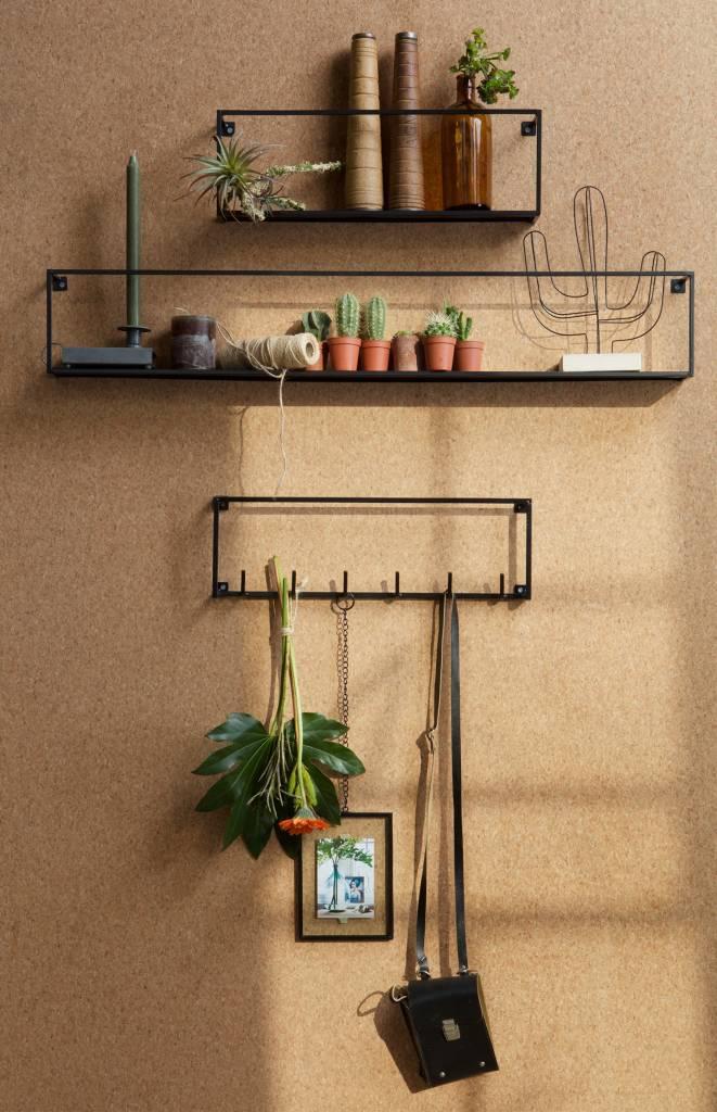 Woood wandplank Meert, zwart, 50 of 100 cm