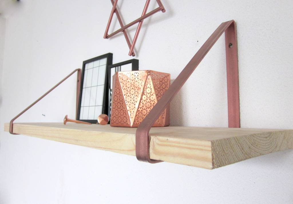 Stoer Metaal shelf supports copper-colored, 21 or 31 cm