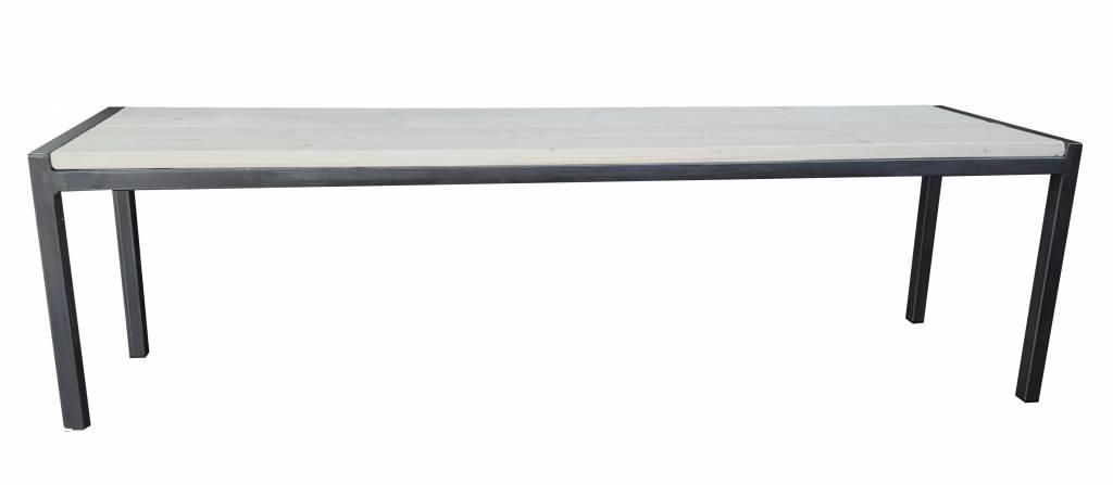 Stoer Metaal bank met ijzeren onderstel en houten zitting Stoer32