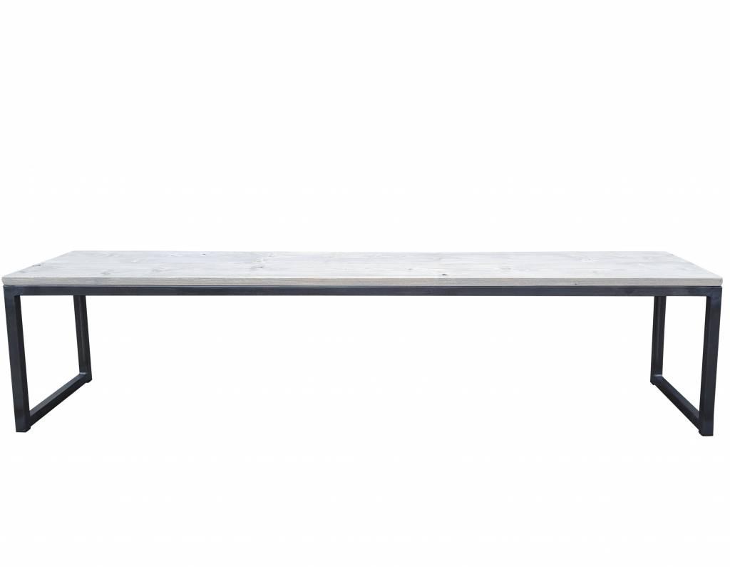 Stoer Metaal bank met ijzeren onderstel en houten zitting Stoer02