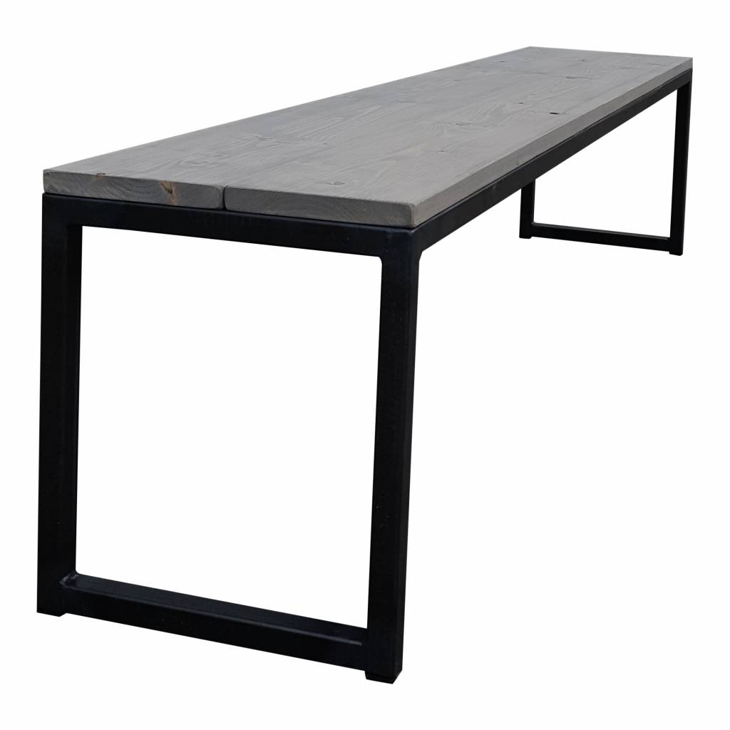 Stoer Metaal bench with iron base and wooden seat Stoer02