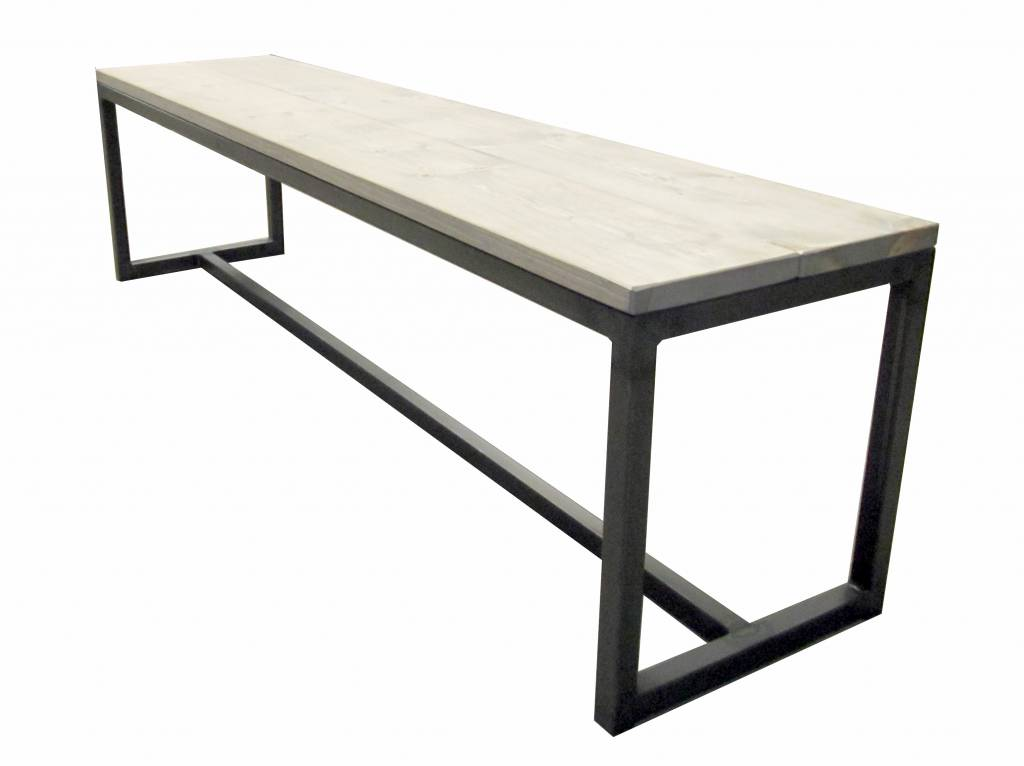 Stoer Metaal bench with iron base and wooden seat Stoer23
