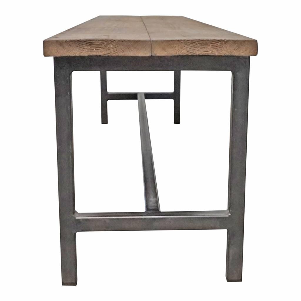 Stoer Metaal bank met ijzeren onderstel en houten zitting Stoer11