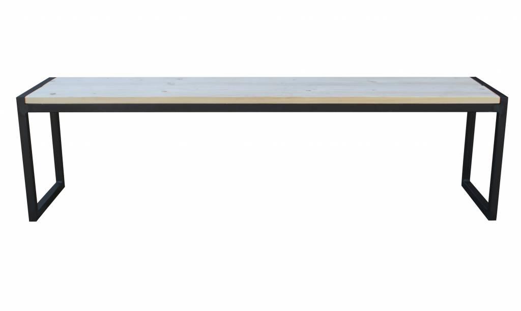 Stoer Metaal bank met ijzeren onderstel en houten zitting stoer30
