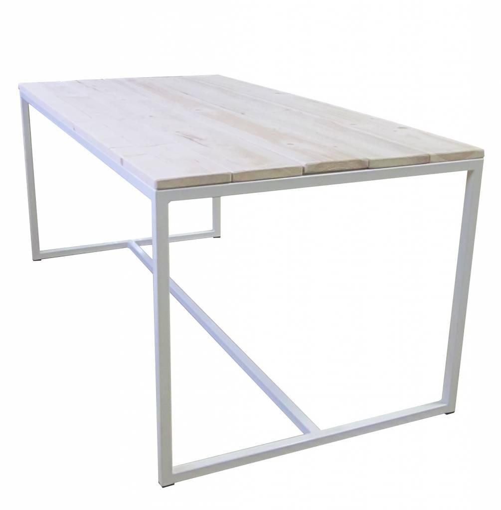 Stoer Metaal wit metalen eettafel met houten blad