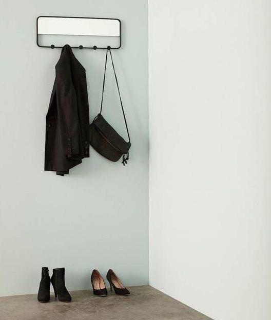 Hübsch coat rack with metal mirror with 5 hooks