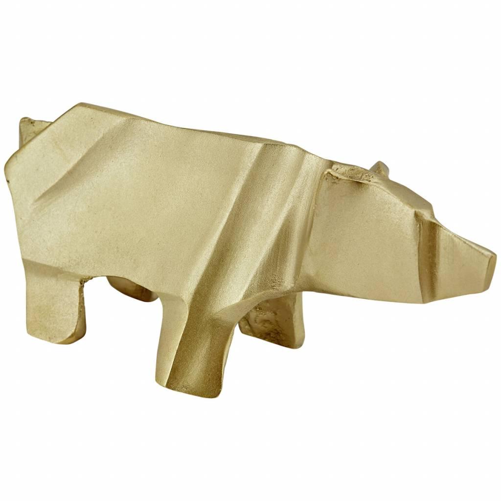 Liv interior beeldje deco origami ijsbeer, messing